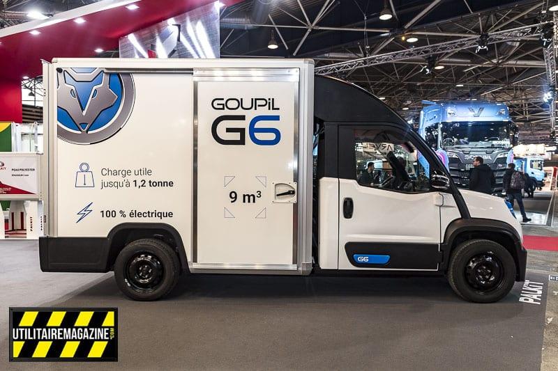 Goupil G6 fourgon électrique avec sa carrosserie 9m3 et 1.2t de charge utile par Palkit.